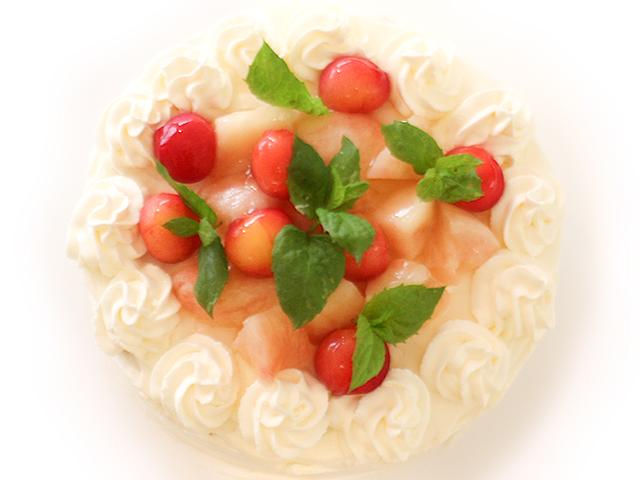 桃ホールケーキ